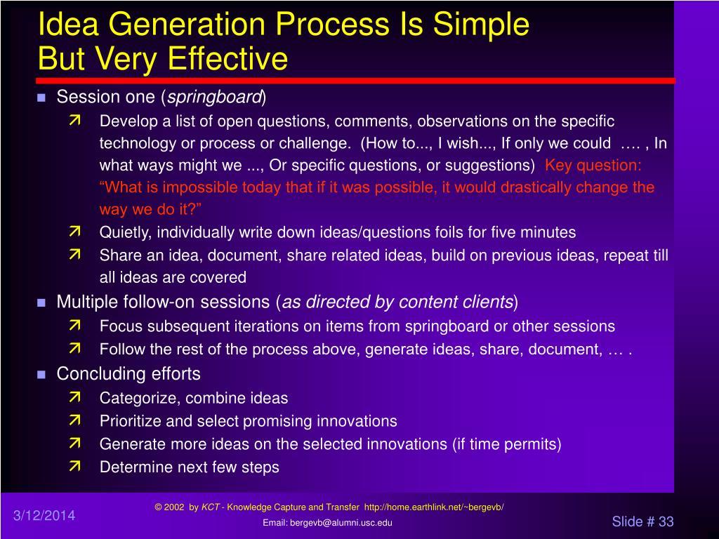 Idea Generation Process Is Simple