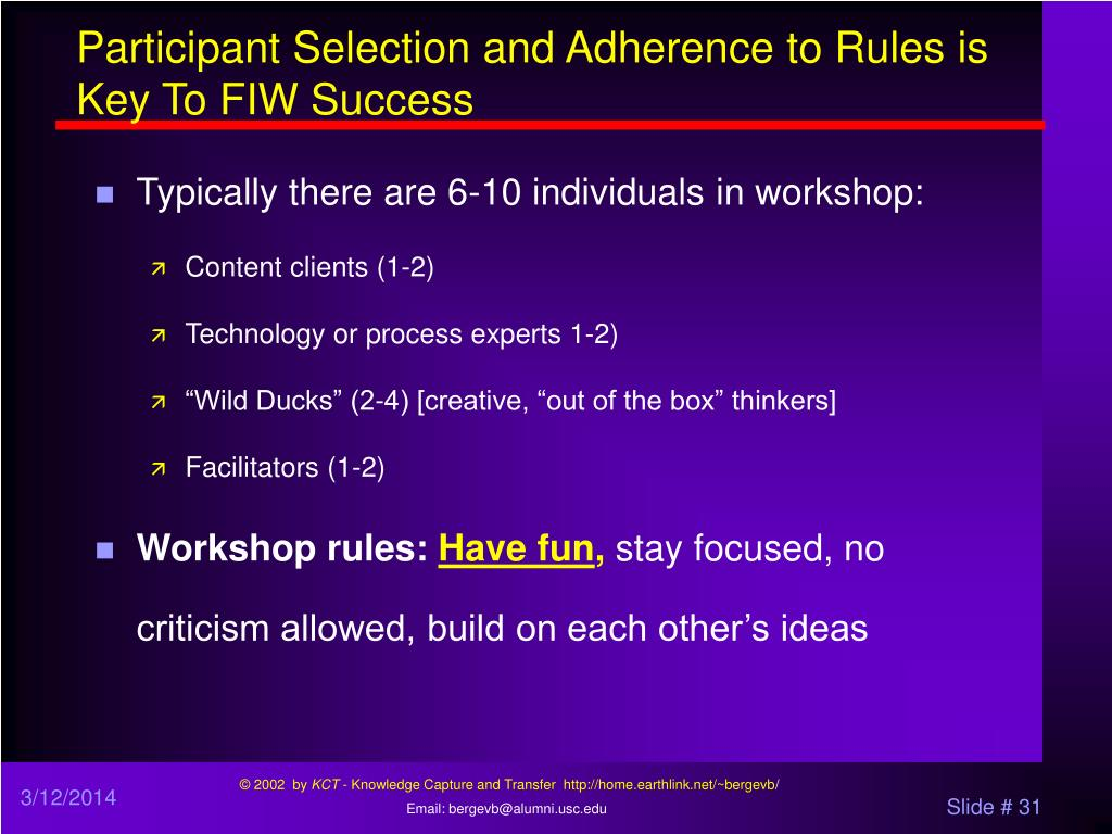 Participant Selection and Adherence to Rules is Key To FIW Success