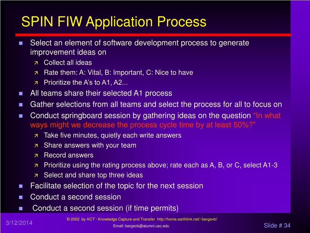 SPIN FIW Application Process