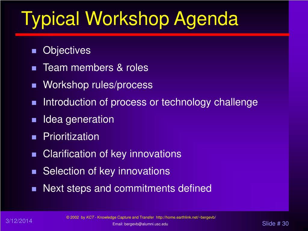 Typical Workshop Agenda