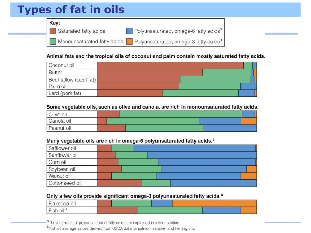 Types of fat in oils