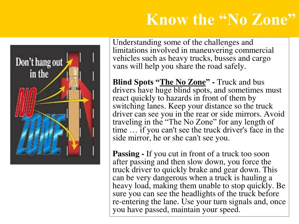 """Know the """"No Zone"""""""