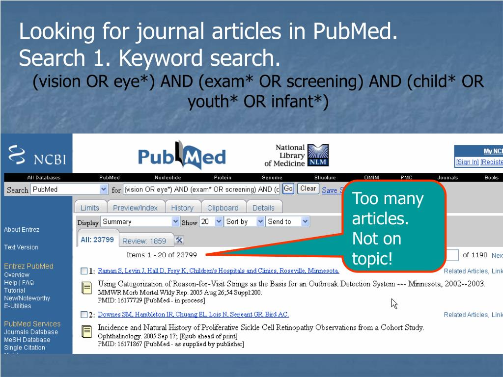 Looking for journal articles in PubMed.