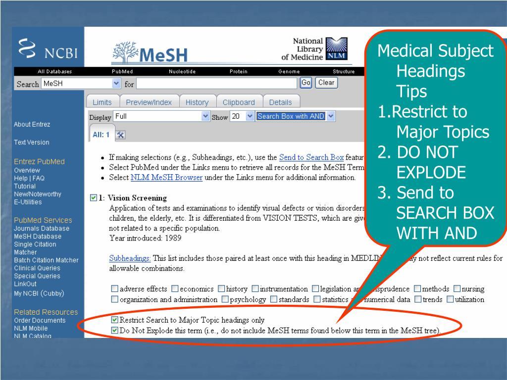 Medical Subject Headings Tips
