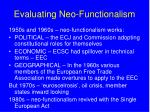 evaluating neo functionalism