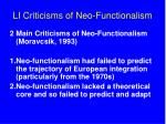 li criticisms of neo functionalism