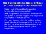neo functionalism s roots critique of david mitrany s functionalism ii