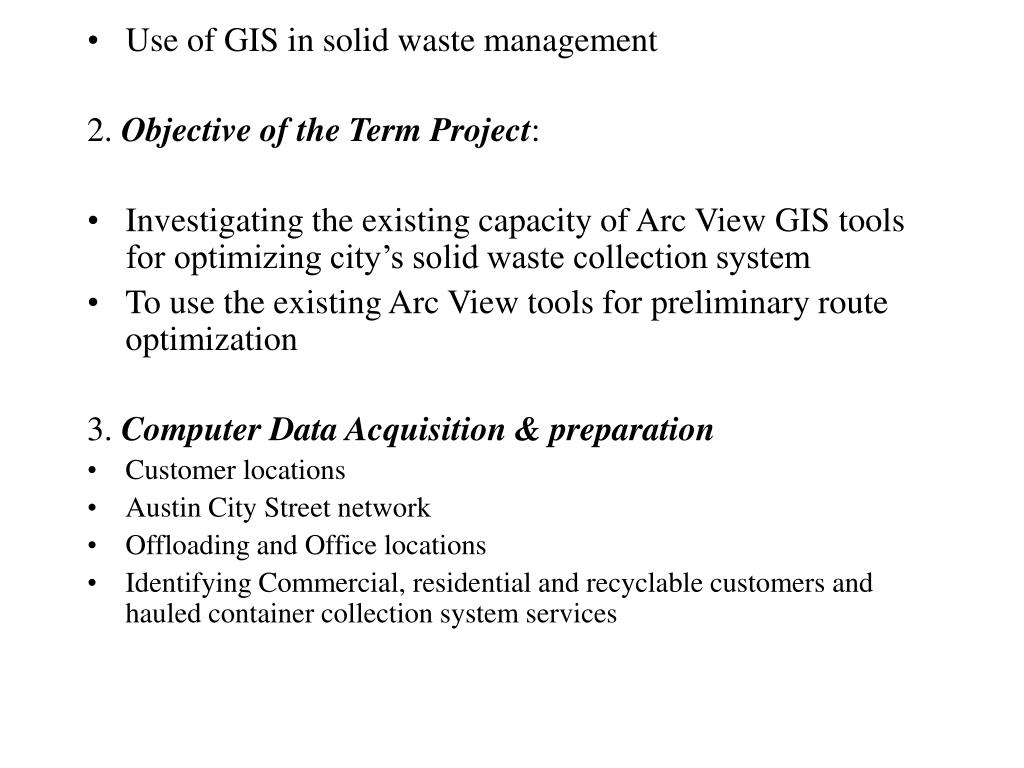 Use of GIS in solid waste management
