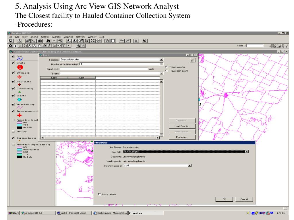 5. Analysis Using Arc View GIS Network Analyst