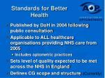 standards for better health