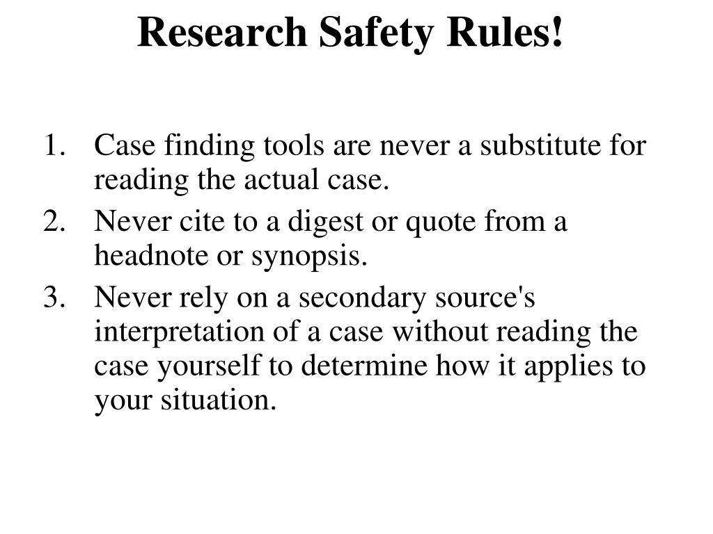 Research Safety Rules!