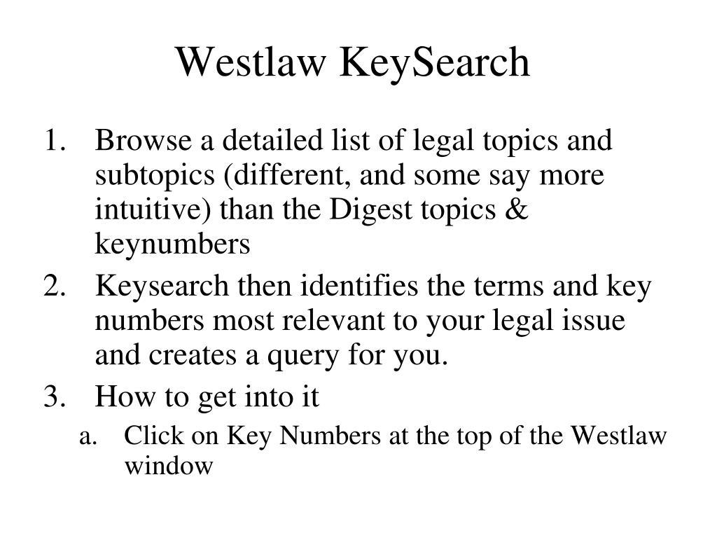 Westlaw KeySearch