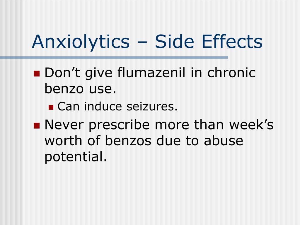 Anxiolytics – Side Effects