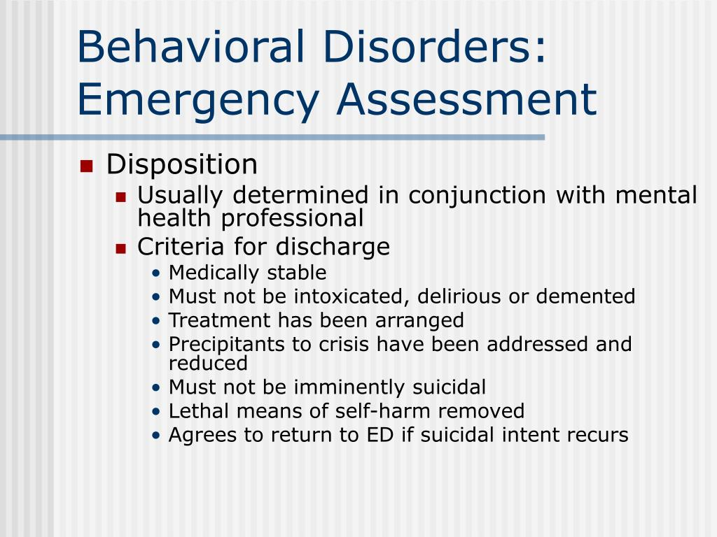 Behavioral Disorders: