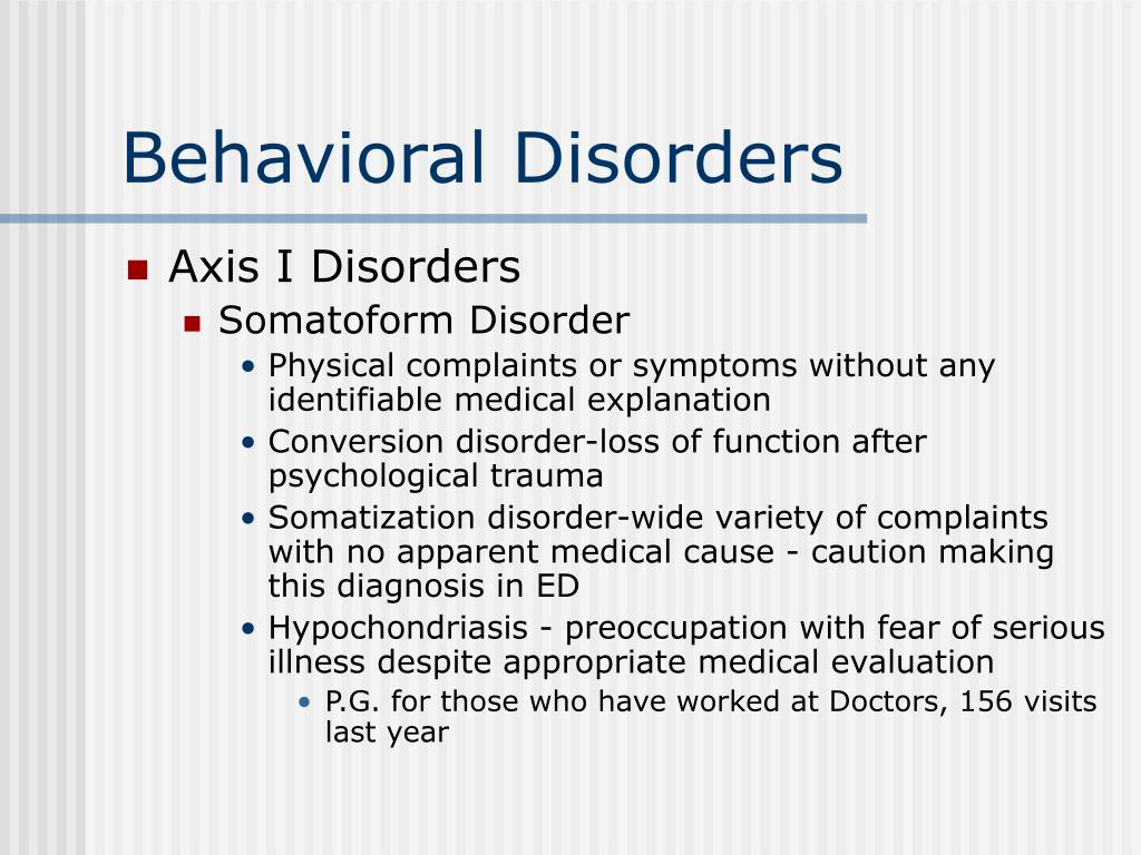 Behavioral Disorders