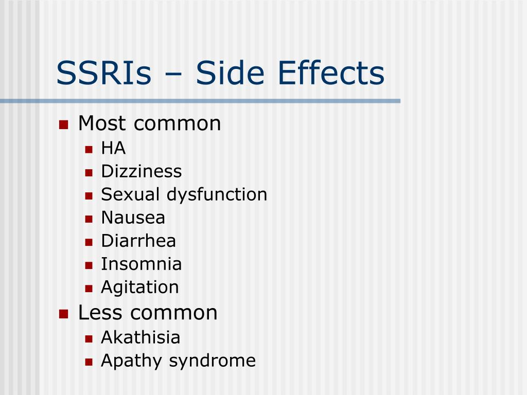 SSRIs – Side Effects