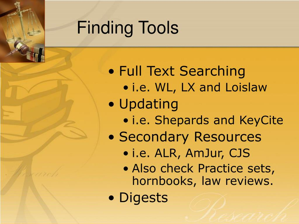 Finding Tools
