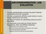 job standardization job evaluation