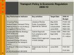 transport policy economic regulation 2009 10