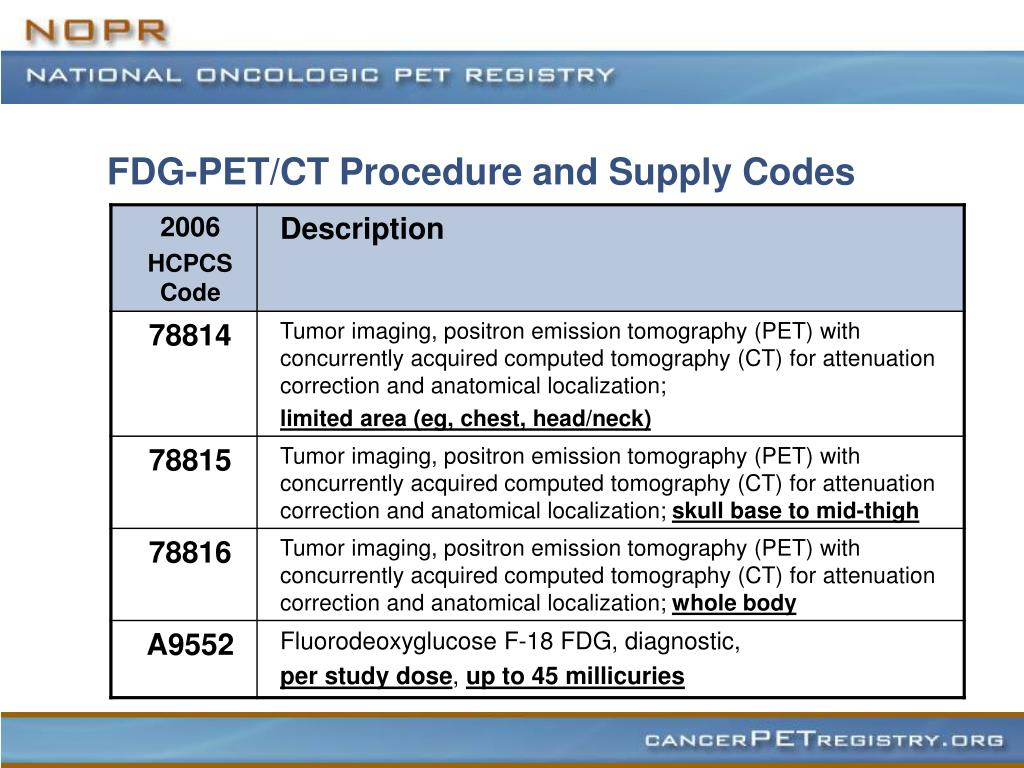 FDG-PET/CT Procedure and Supply Codes