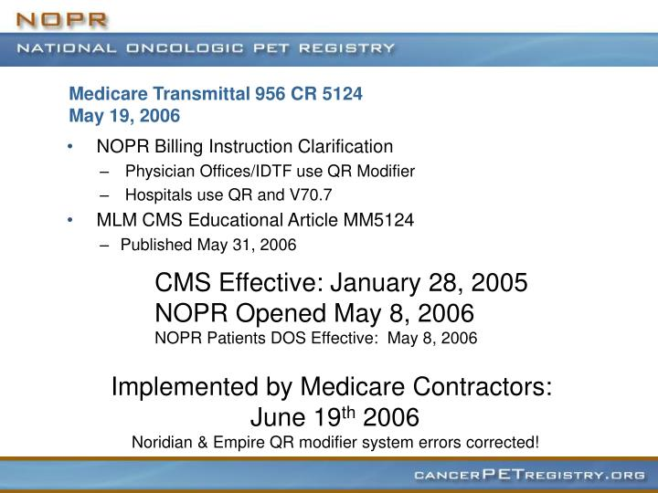 Medicare transmittal 956 cr 5124 may 19 2006