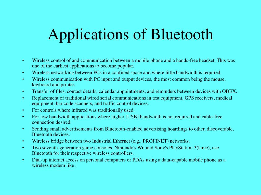 Applications of Bluetooth