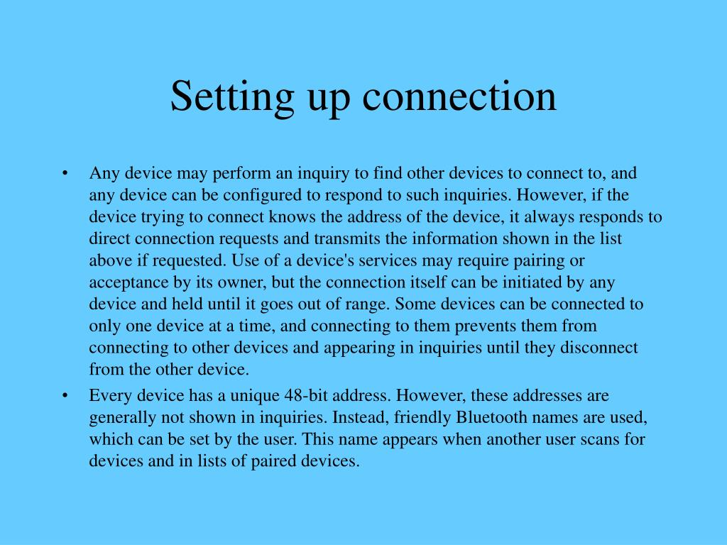 Setting up connection