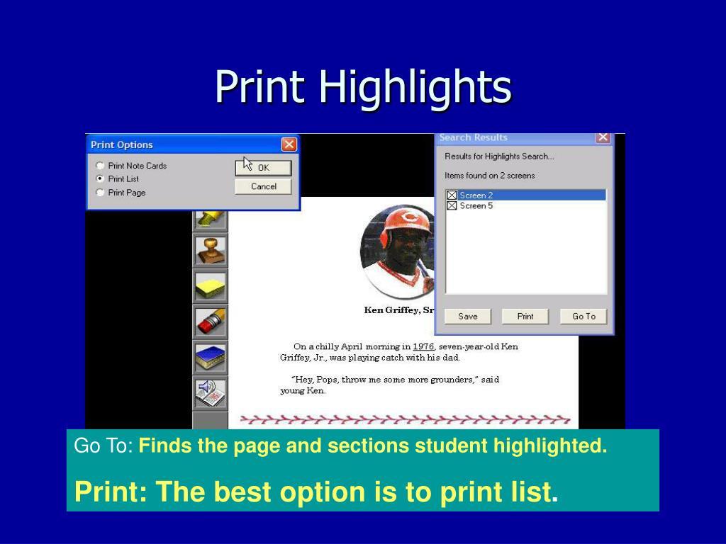 Print Highlights