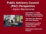 public advisory council pac perspective karen blankenship
