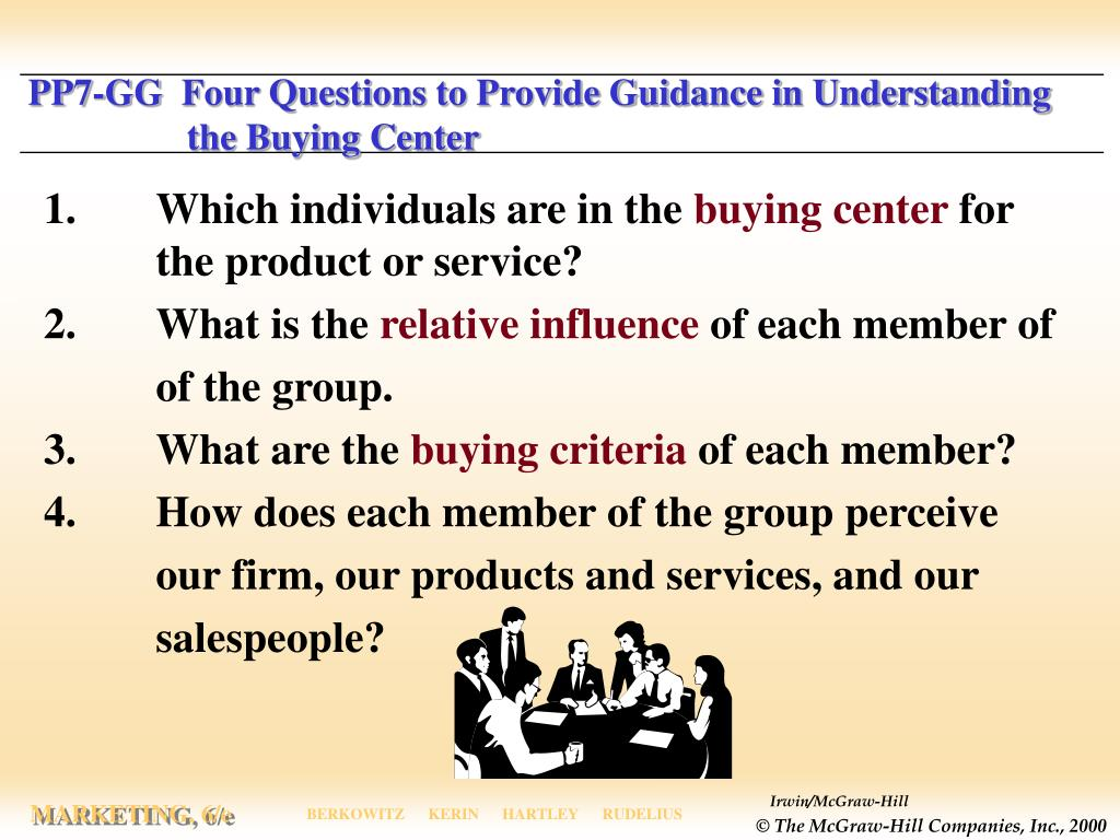 PP7-GG  Four Questions to Provide Guidance in Understanding      the Buying Center