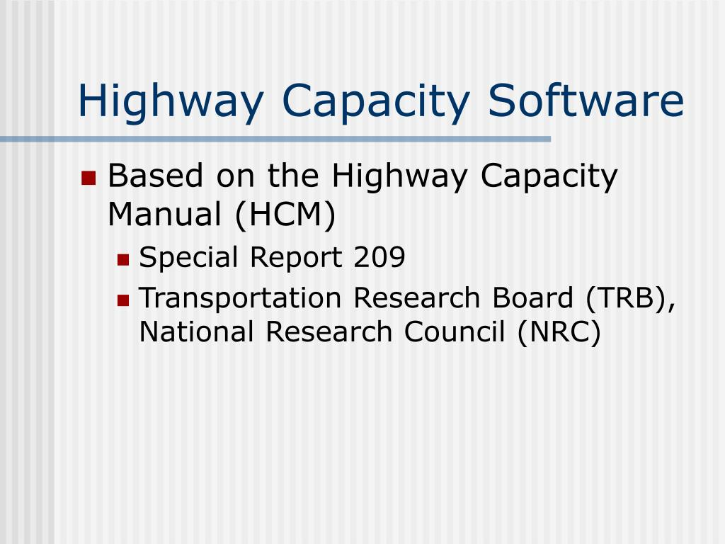 Highway Capacity Software