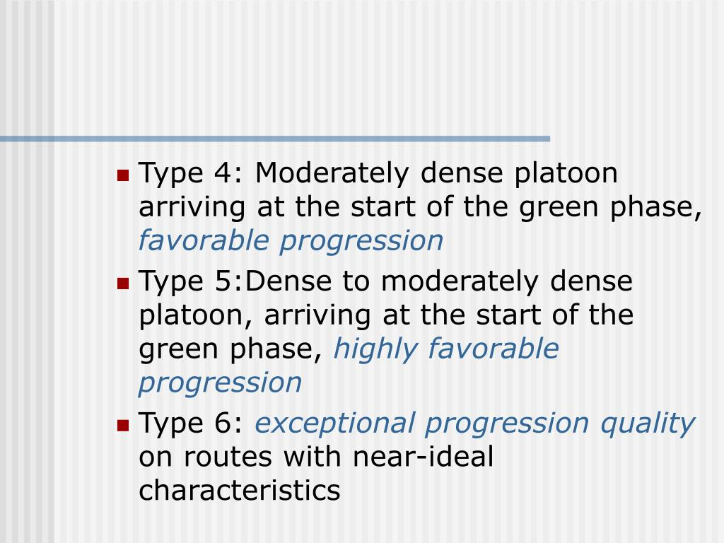 Type 4: Moderately dense platoon arriving at the start of the green phase,