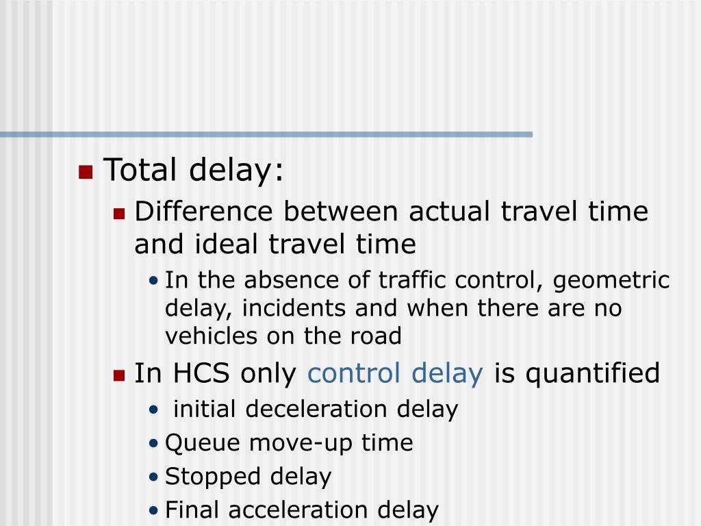 Total delay:
