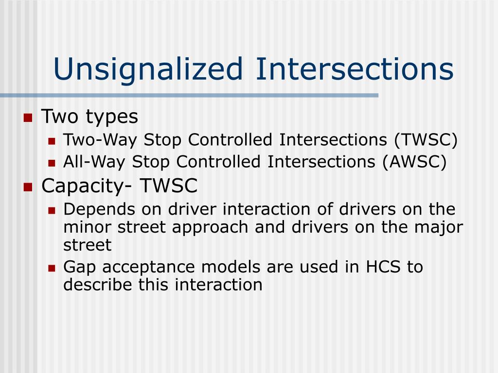 Unsignalized Intersections