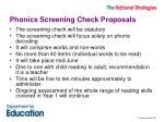 phonics screening check proposals