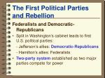 the first political parties and rebellion