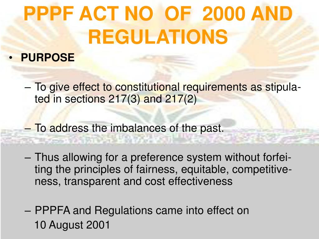 PPPF ACT NO  OF  2000 AND REGULATIONS