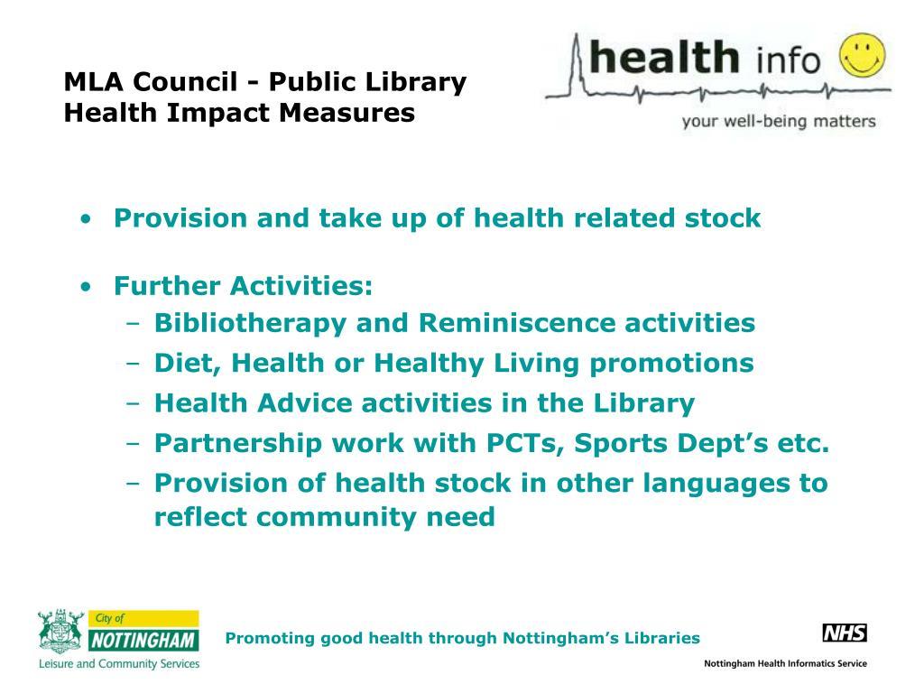 MLA Council - Public Library Health Impact Measures