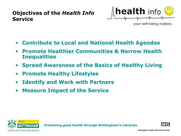 Objectives of the health info service