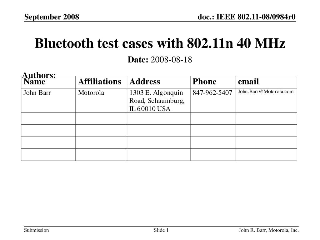 Bluetooth test cases with 802.11n 40 MHz