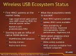 wireless usb ecosystem status