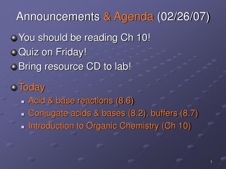 Announcements agenda 02 26 07