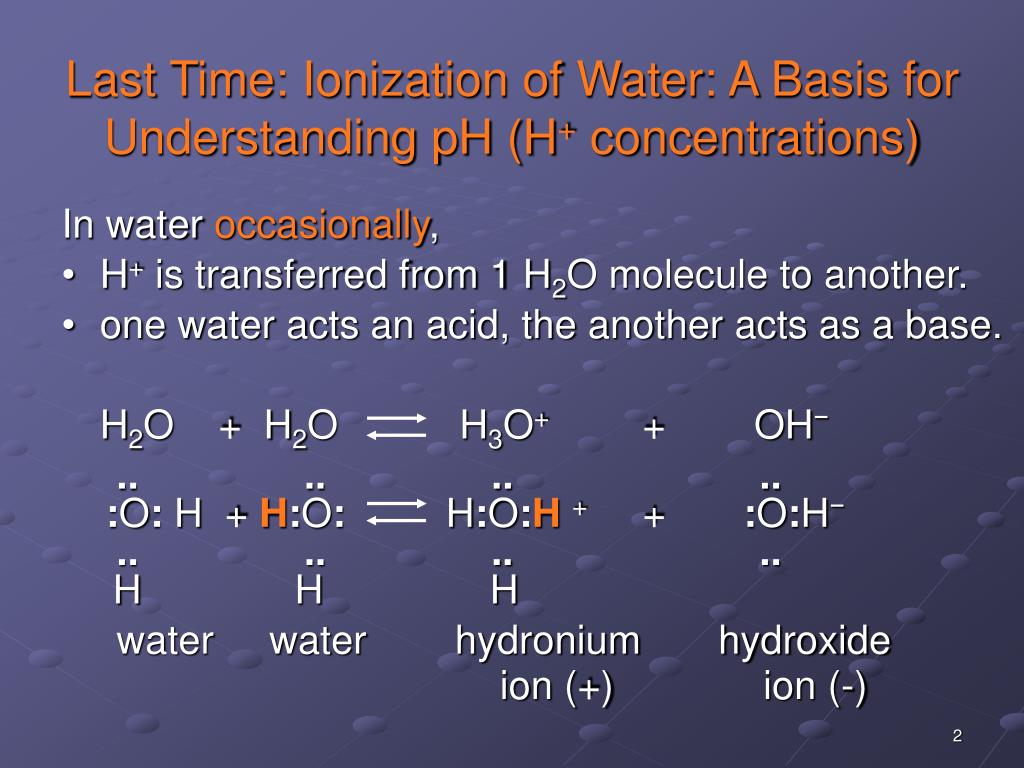 Last Time: Ionization of Water: A Basis for Understanding pH (H