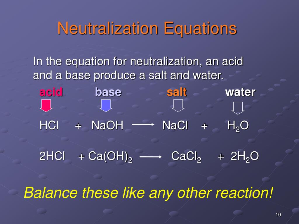 Neutralization Equations