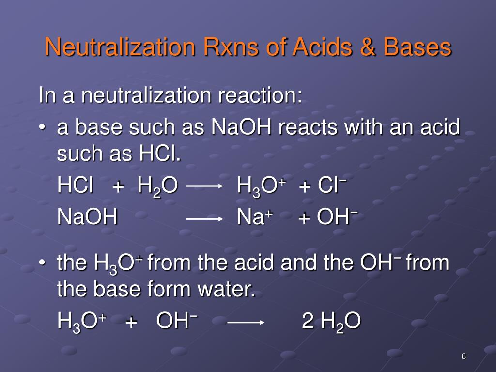 Neutralization Rxns of Acids & Bases