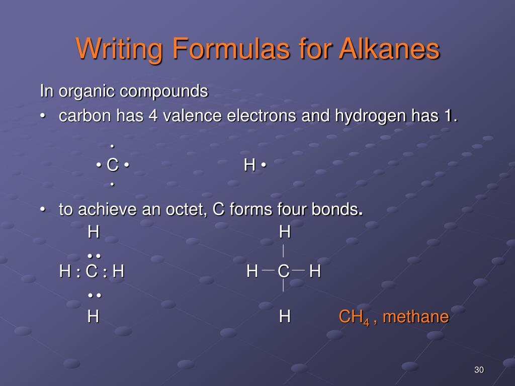 Writing Formulas for Alkanes