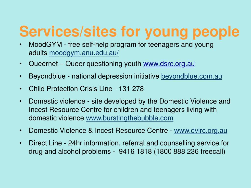 Services/sites for young people
