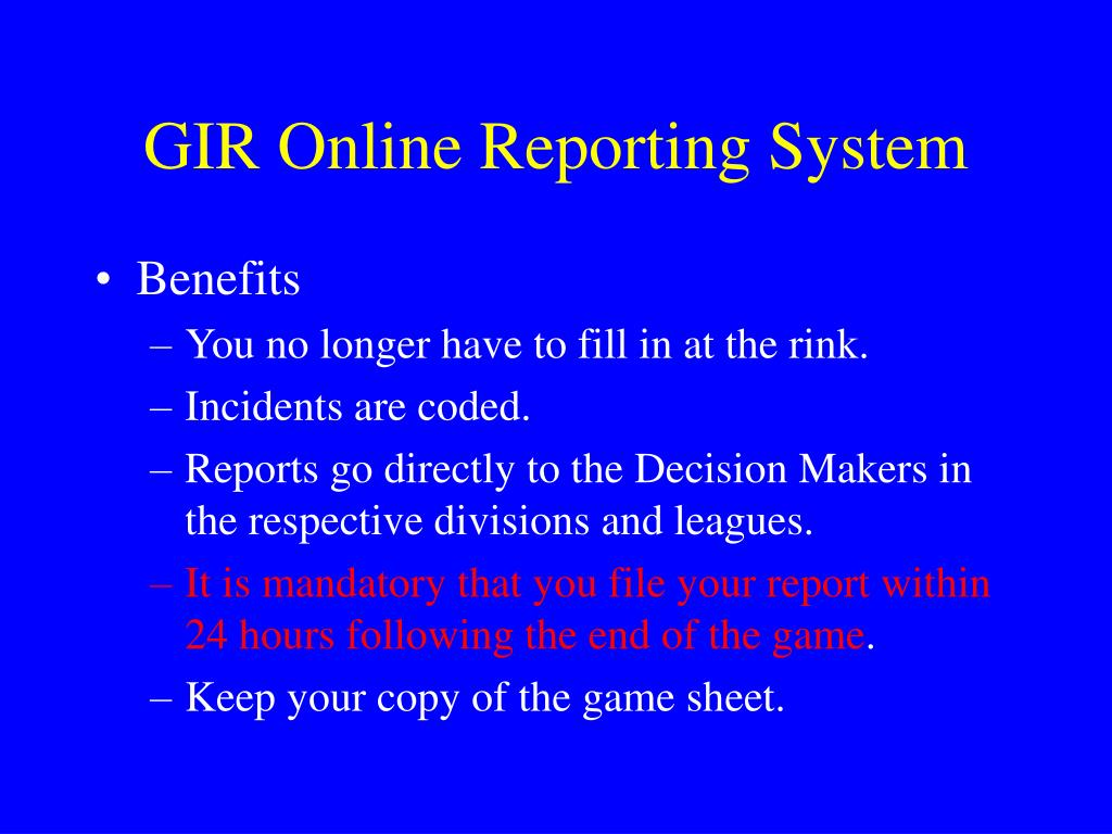 GIR Online Reporting System
