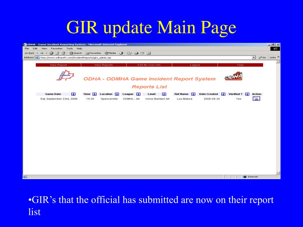 GIR update Main Page