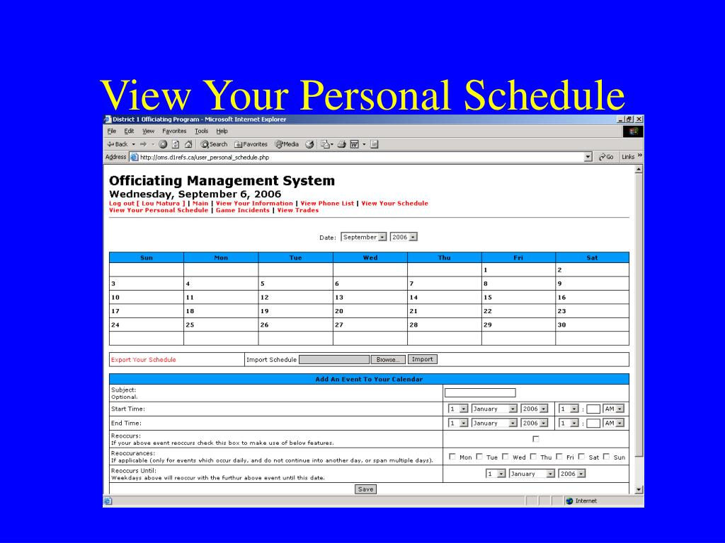 View Your Personal Schedule